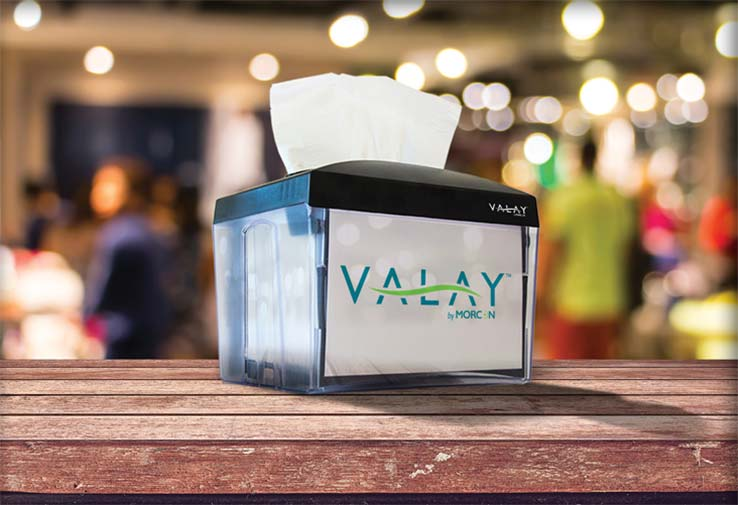 Valay Nap Dispenser & Napkins by Morcon
