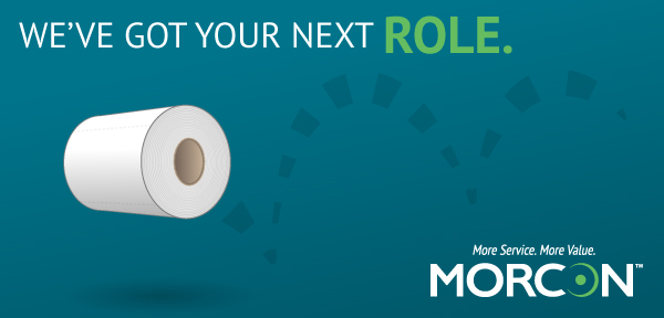 Morcon Careers image with a roll of toilet paper highlighting that Morcon has your next role