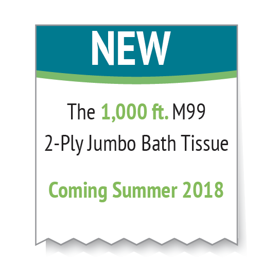 New 1,000 ft M99 2-Ply Jumbo Bath Tissue Coming Summer 2018 graphic