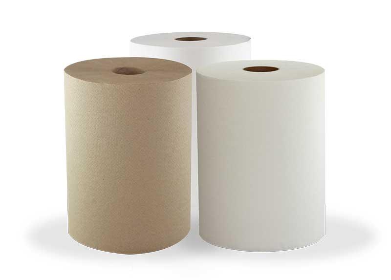 Three rolls of Morsoft Hardwound Towels