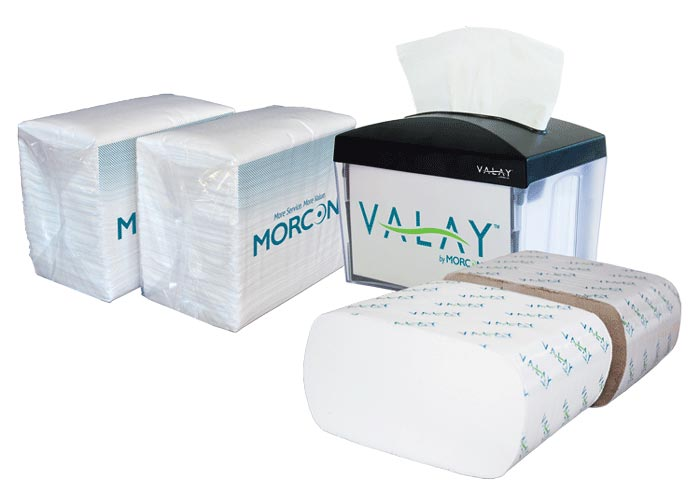 Morcon Napkins and napkin dispenser