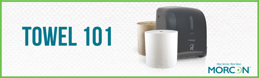towel 101 graphic with hardwound towels and dispenser