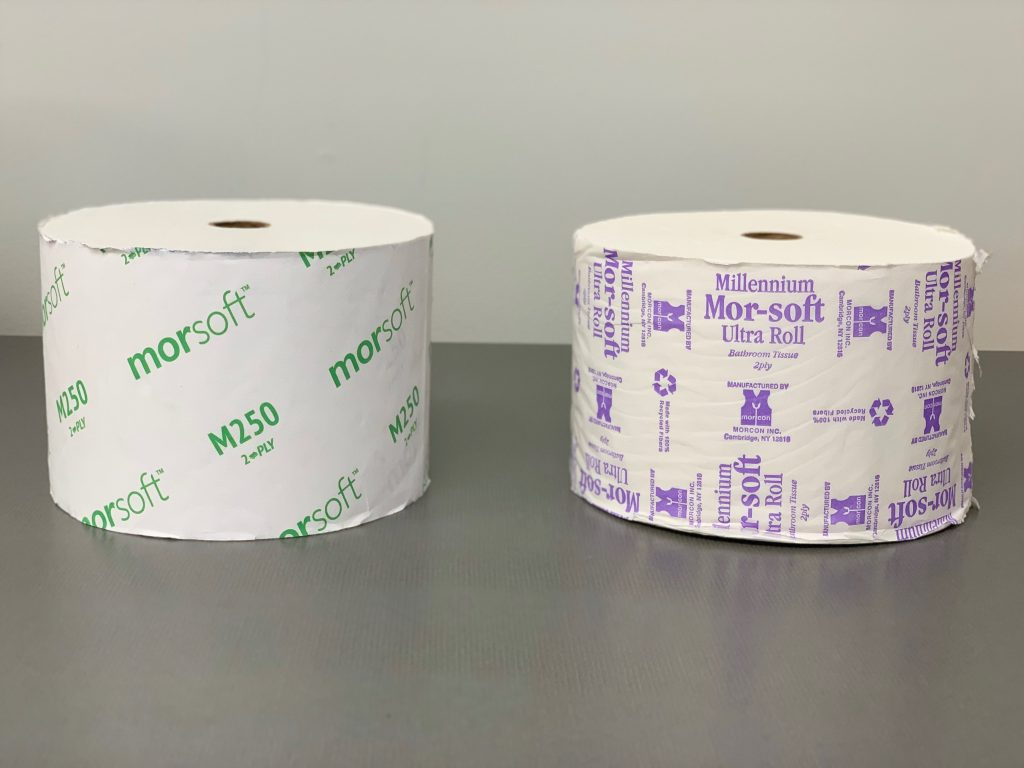 two rolls of Morsoft M250 Bath Tissue